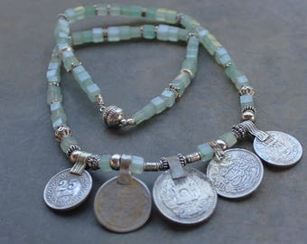 Tribal coin necklace, Tribal Gypsy Coin Jewelry, boho necklace Talisman Necklace, kuchi necklace, aqua aventurine and silver afghan charms