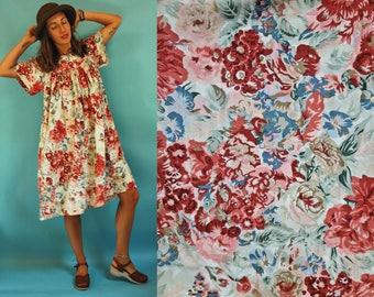 1970s Maroon & Slate Blue Floral Lounge Dress