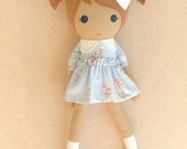 Fabric Doll Rag Doll 20 Inch Light Brown Haired Girl in Blue Floral Dress and Blue MaryJanes