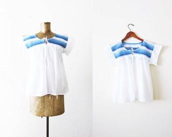 Vintage Peasant Blouse / White Cotton Peasant Shirt / Bohemian Blouse / Crochet Shirt / Gauze Cotton Top / Peasant Top Small