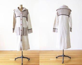 70s Knit Duster Jacket - Long Wool Cardigan - Knit Coat - 70s Clothing - Boho Cardigan - Bohemian Sweater - Neutral Sweater Jacket - Small