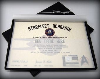 Deluxe Star Trek Starfleet Academy Certificate in a Luxury Gift Box - Personalised with the name of your choice