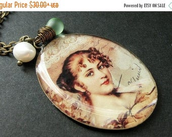 VALENTINE SALE Beautiful Lady Necklace. Renaissance Woman Pendant with Pale Green Teardrop and Pearl. Handmade Jewelry.