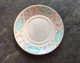 Vintage Cream And TURQUOISE Geometric Bowl And Saucer / 80s SOUTHWESTERN Stoneware / International Tableworks England / Made In Japan