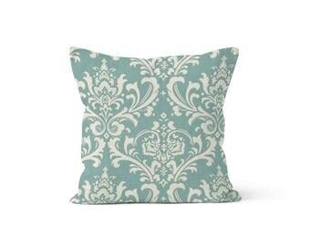 Blue Damask Pillow Cover - Osborne Village - Lumbar 12 14 16 18 20 22 24 26 Euro - Hidden Zipper Closure