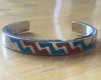 Turquoise and Coral Enamel 970 Silver Southwestern ZigZag Cuff Bracelet, Hallmarked WJ for Waldeck Jewelers