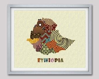 Ethiopia Map Art Print Wall Decor,  Ethiopia Poster,  Addis Ababa Ethiopia African Art Print, African Map Poster