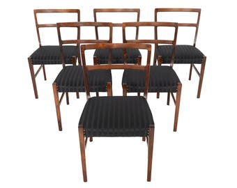 Set of Six Danish Mid Century Modern Harry Østergaard Rosewood Dining Chairs