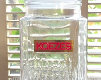 Vintage Apothecary Jar Koeze's Candy Jar Style with Intact Koeze Label~Clear Glass Apothecary Jar~Clear Glass Canister Jar Heavy Glass