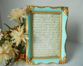 Frame upcycled mint green and gold Florentine style