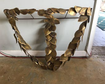 Brutalist Brass Leaves Wall Shelf
