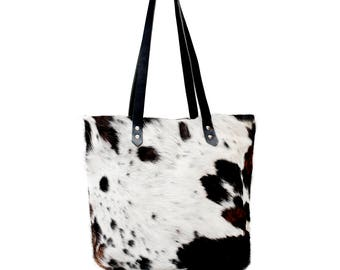 Cowhair Leather Tote, Cowhide Tote, Handcrafted in USA