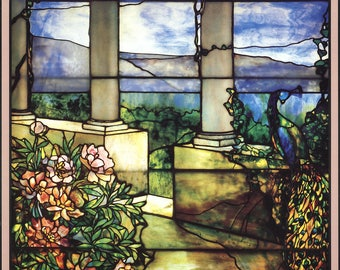 Louis Comfort Tiffany-Landscape with Peacock and Peonies-1986 Poster