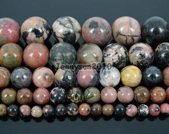 Natural Black Line Rhodonite Gemstone Round Beads 15.5'' 4mm 6mm 8mm 10mm 12mm for Jewelry Making Crafts