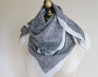 BLACK and WHITE scarf, square scarf, herringbone print, abstract vintage scarf, The Bay. urban headscarf,