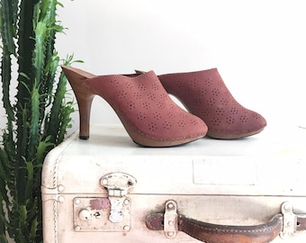 70s daisy brogue leather mules vintage deadstock heels size 9