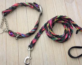Leather Martingale AND Leash,  Braided Custom Leather Dog Collar and Lead, Artsy collar and leash