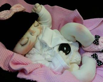Chloe Sabrina  a OOAK soft sculpture cloth newborn baby doll by Smoky Mountain Babies