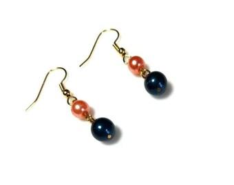 Dark Blue Coral Swarovski Crystal Pearl Gold Earrings Hypoallergenic Nickel Free Earrings Dangle Petrol Blue Earrings Drop Beaded Earrings