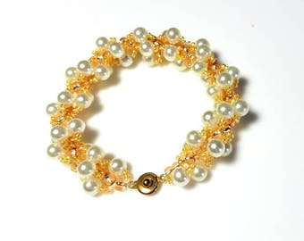 white pearl golden seed bead rope bracelet twisted spiral bracelet woven beaded bracelet beadwork jewelry gifts for her bracelets for women
