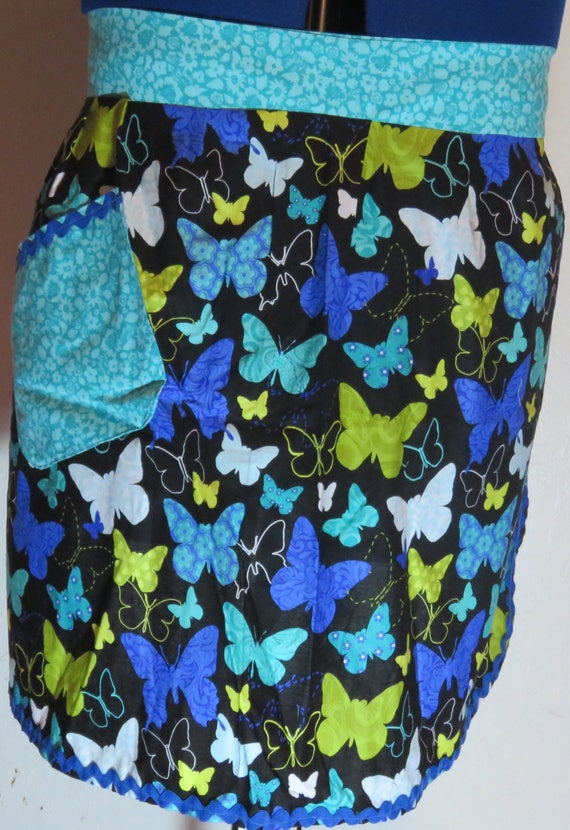 Blue Butterfly Half Apron