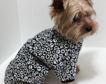Musical Print Dog Pajamas, S and M Black and white Cute Musical Print Flannel Dog Onesies, In Stock! Fashion dog clothes