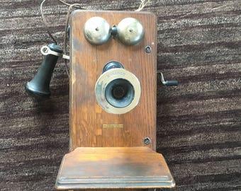 1901 Kellogg Antique Crank Wall Telephone