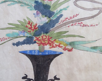 antique ikebana painting