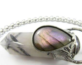 antares -  purple labradorite, garnet & tourmalinated quartz crystal pendant