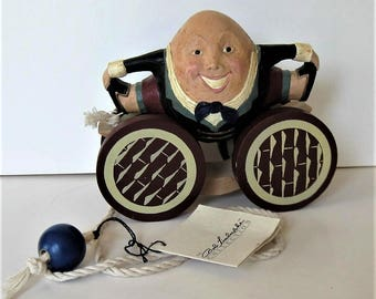 Vintage signed BRIERE Folk Art Pull Toy, Artist signed, 1993 Humpty Dumpty, Bob Timberlake, Folk Art Collectible, Nursery Decor, gift idea