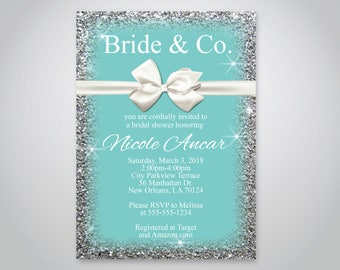 INSTANT DOWNLOAD - Bride & Co. bridal Shower Invitation, Breakfast at Tiffanys, White bow Theme Invitation, OLDP02,