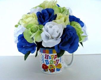 Birthday gift arrangement, Happy Birthday mug bouquet, Floral arrangement, Gift for Birthday celebrations, Birthday centerpiece,