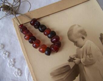 Vintage Beaded Bracelet.Vintage Jewelry Making Supplies.Vintage Brown Beads.Antique Beads Brown.Earth Tones.Vintage Beads.Free Shipping U.S.