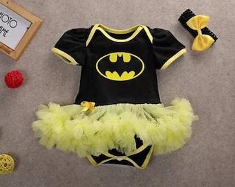 Baby Girl's Batman Onesie Bodysuit Tutu Outfit with Headband