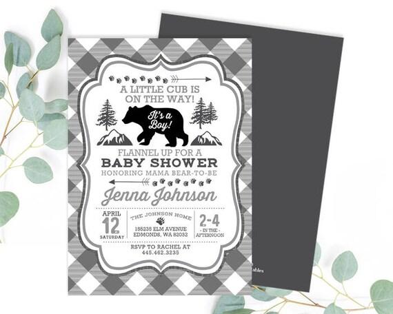 A little cub on the way baby shower invitation rustic baby boy il570xn filmwisefo