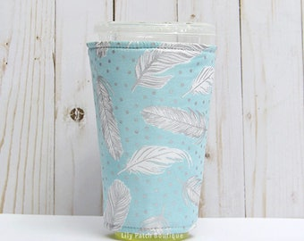 Large Feathers Coffee Cozy, Misty Silver, Iced Coffee Cozy, Cup Sleeve, Eco Friendly, Insulated Cup Sleeve,