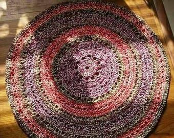 "35"" Red Berries and Cream Rug. Western style rug. Boho, Mandala style rug. Acrylic machine wash and dry. Handmade crochet"