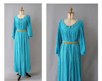 1970  Gauze Dress turquoise & gold  angel sleeves unic size/70s cotton gauze lurex maxi Dress