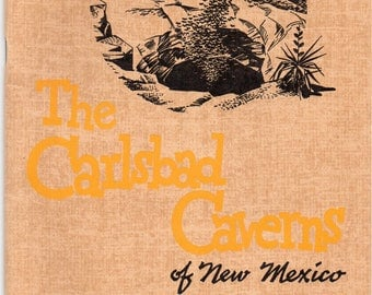 Vintge 1939 The Carlsbad Caverns of New Mexio History,Geology, Formations, Discovery, Bats of the Cavern, Land Nobody Knows, Fold Out Map