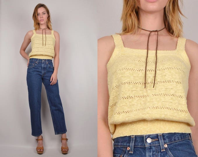 70's Yellow Knit Top