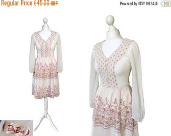 On Sale Vintage Betty Barclay Cheesecloth Dress | 1970's Dress | 70's Gauze Boho Hippy Dress