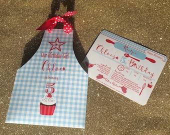 Birthday Girl Invitation |  Chef Invitation | Apron Invitation | Cupcake Party Invitation