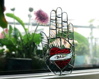 Suncatcher Palmistry Father's day heart