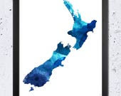 New Zealand Map Print, New Zealand Map Color Silhouette, New Zealand Blue Watercolor Print, Modern Room Wall Home Art, Printable Travel Gift