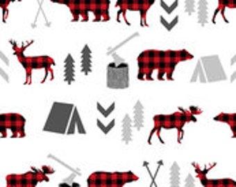 Buffalo Plaid Woodland Camping Crib Sheet