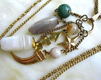 Charms Amulets Necklace, Natural Gemstones, Talismans, Golden Star Arrow Cornicello, Agate,  Aventurine Mixed Drops