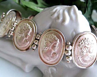 Sterling Cameo Bracelet, Silver Oval Links, Womans Profile Portraits, Italy 925 Silver, 18 Grams, Romance Gift for Her