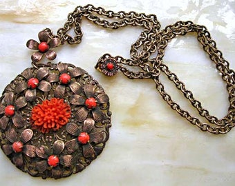 Vintage Coral Glass Brass Flowers Pendant Necklace, Brass Medallion Disc Celluloid Floral Center, Prongset Cabstones, 22 Inch Brass Chain