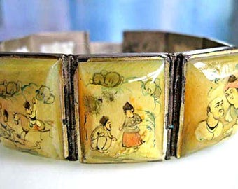 Persia Story Panels Bracelet, 8 Hand Painted Mother of Pearl Links, People Horse Scenes, Silver Frames Multi-Hallmarks, Oriental Asian Image