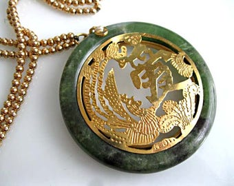 Oriental Jade Jadeite Pendant, Gold Bird of Paradise Phoenix Inset, Cut-out Circle Design, 14k Goldfilled Bead Chain